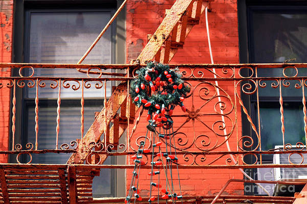 Photograph - Christmas Lights On The Little Italy Fire Escape New York City by John Rizzuto