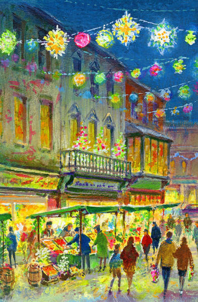 Kitsch Painting - Christmas Market by Stanley Cooke