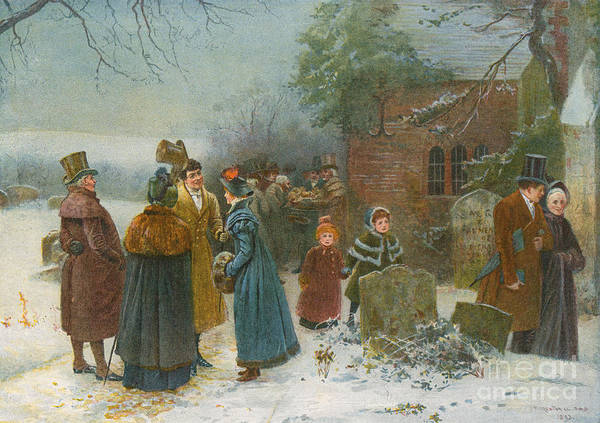 Annual Painting - Christmas Morning  Neighbourly Greetings, And Doles To The Poor And Needy by Edward Frederick Brewtnall