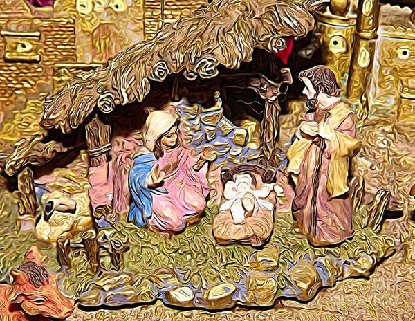 Photograph - Christmas Nativity Scene Expressionist Effect by Rose Santuci-Sofranko