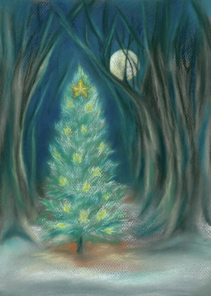 Pastel - Christmas Night In The Forest by MM Anderson
