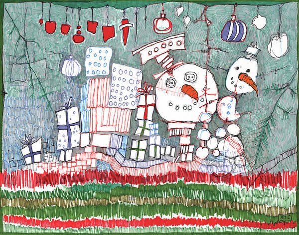 Semi Abstract Drawing - Christmas On The Edge by Sandra Church
