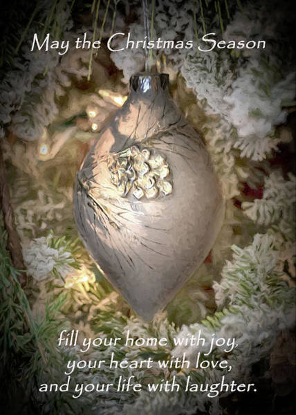Photograph - Christmas Ornament With Greeting by Susan Rissi Tregoning