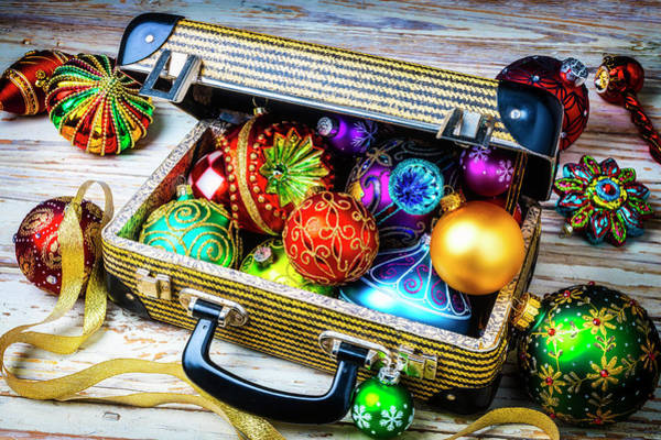 Fancy Photograph - Christmas Ornaments In Small Suitcase by Garry Gay