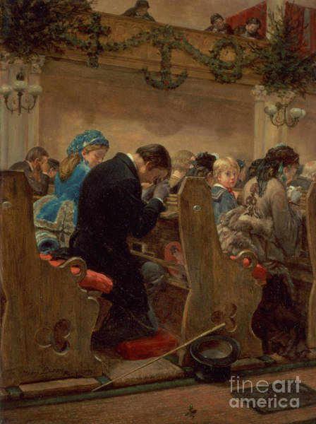 Kneeling Painting - Christmas Prayers by Henry Bacon