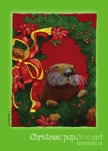 Painting - Christmas Pup... by Will Bullas
