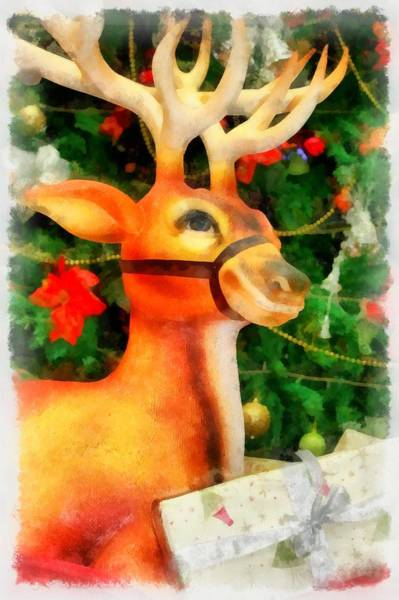 Wall Art - Painting - Christmas Reindeer by Esoterica Art Agency