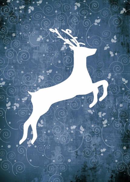 Xmas Digital Art - Christmas Reindeer On Blue No Text by Maggie Terlecki