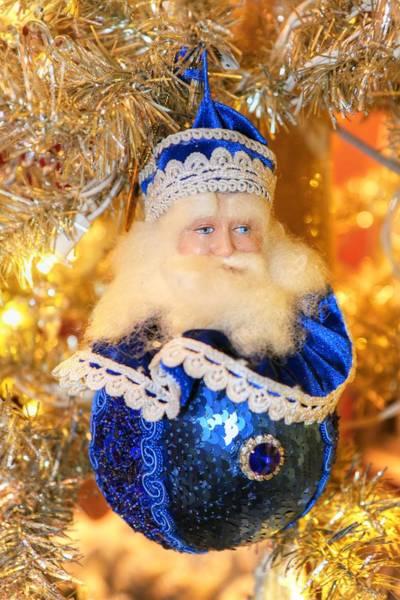 Photograph - Christmas Santa In Blue by Carol Montoya