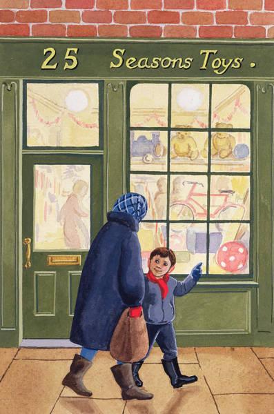 Gift Shops Painting - Christmas Shopping by Lavinia Hamer