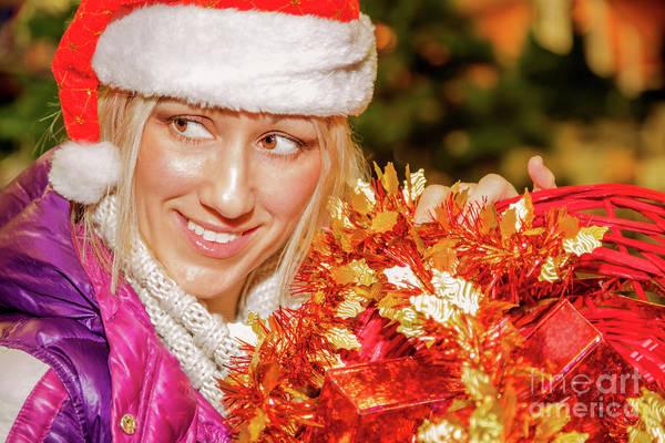Photograph - Christmas Shopping Santa Woman by Benny Marty