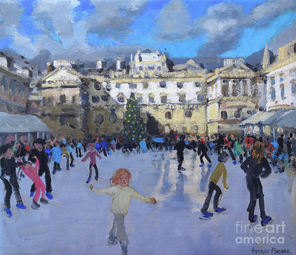 Wall Art - Painting - Christmas Skating, Somerset House, Daytime by Andrew Macara
