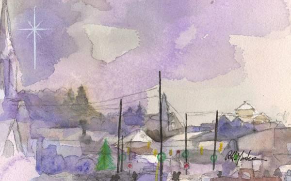 Garrett County Wall Art - Painting - Christmas Skyline by Robert Yonke