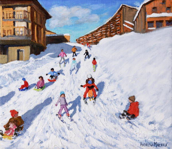 Wall Art - Painting - Christmas Sledging, Les Arcs by Andrew Macara