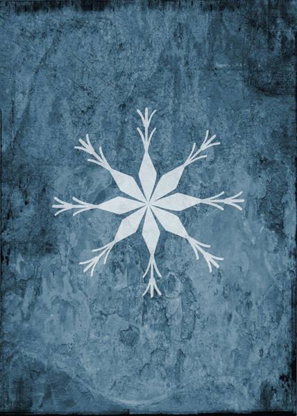 Xmas Digital Art - Christmas Snowflake On Blue I - No Text  by Maggie Terlecki