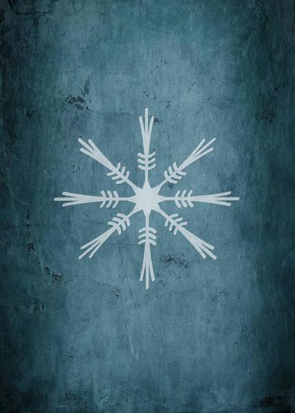 Xmas Digital Art - Christmas Snowflake On Blue II - No Text  by Maggie Terlecki