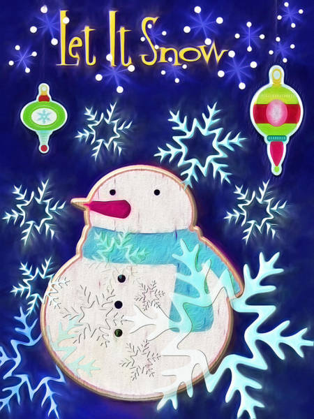 Christmas Season Wall Art - Digital Art - Christmas Snowman - Let It Snow by Steve Ohlsen