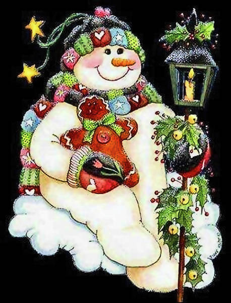 Smile Mixed Media - Christmas Snowman by Long Shot