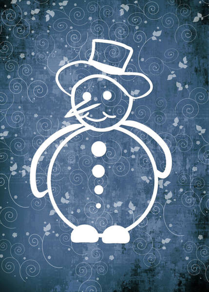 Frosty Digital Art - Christmas Snowman On Blue No Text by Maggie Terlecki