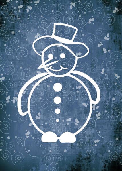 Xmas Digital Art - Christmas Snowman On Blue No Text by Maggie Terlecki