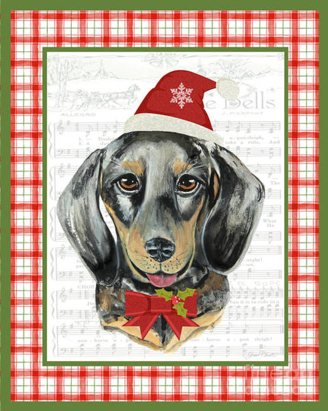 Wall Art - Painting - Christmas Song Dogs-c by Jean Plout