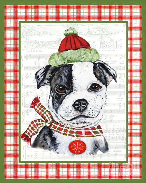 Wall Art - Painting - Christmas Song Dogs-f by Jean Plout