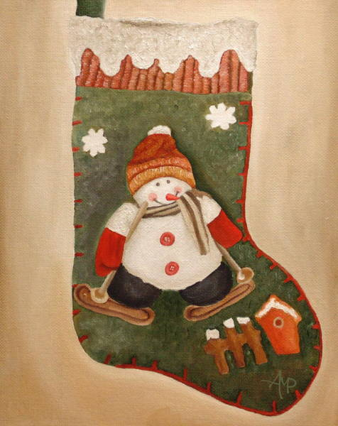 Painting - Christmas Stocking by Angeles M Pomata