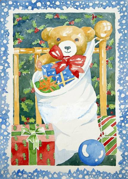 Teddy Bear Painting - Christmas Stocking by Jennifer Abbot