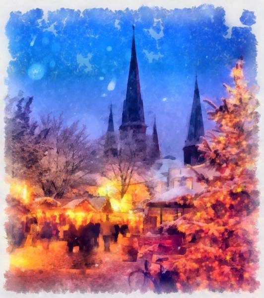 Wall Art - Painting - Christmas Town by Esoterica Art Agency