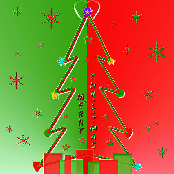 Christmas Season Wall Art - Digital Art - Christmas Tree Greeting With Presents by Steve Ohlsen