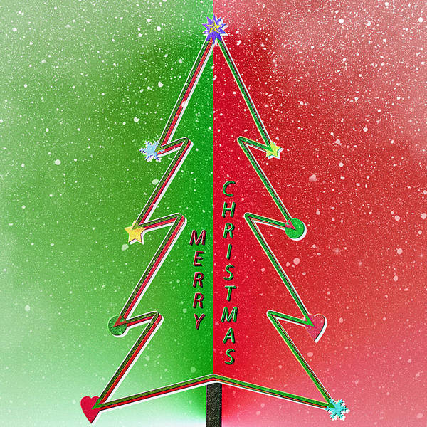 Christmas Season Wall Art - Digital Art - Christmas Tree Greeting With Snowfall by Steve Ohlsen