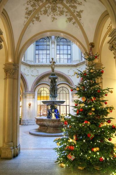 Photograph - Christmas Tree In Ferstel Passage Vienna by David Birchall