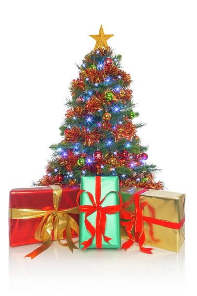 Christmass Photograph - Christmas Tree Isolated With Gifts In Front by Richard Thomas