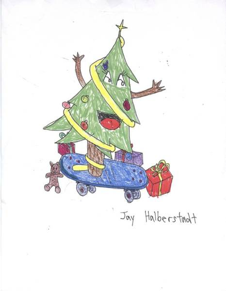 Drawing - Christmas Tree On Skateboard by Jayson Halberstadt