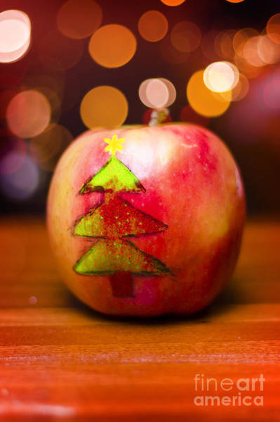 Wall Art - Photograph - Christmas Tree Painted On Apple Decoration by Jorgo Photography - Wall Art Gallery