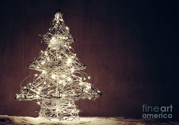Wire Wrap Photograph - Christmas Tree Shape Made Of Lights. by Michal Bednarek