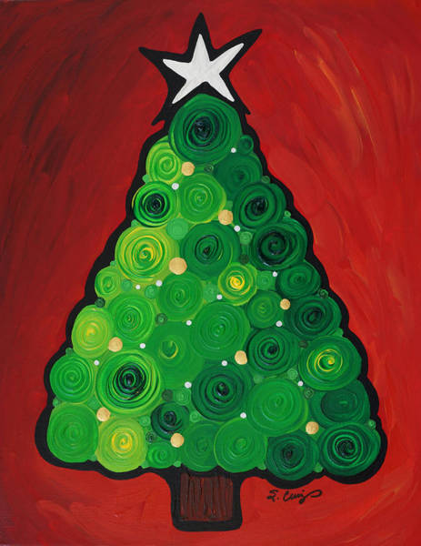 Christmas Tree Painting - Christmas Tree Twinkle by Sharon Cummings