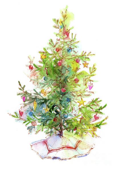 Wall Art - Painting - Christmas Tree With Skirt by John Keeling