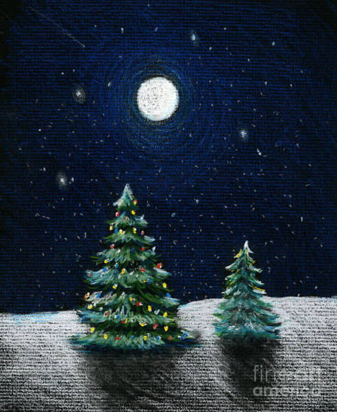 Evergreen Trees Drawing - Christmas Trees In The Moonlight by Nancy Mueller