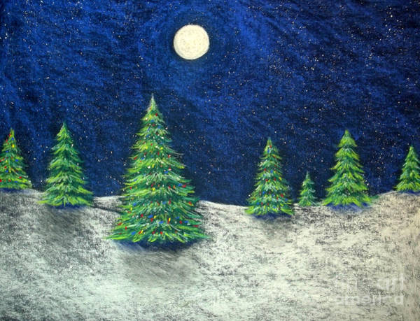 Evergreen Trees Drawing - Christmas Trees In The Snow by Nancy Mueller