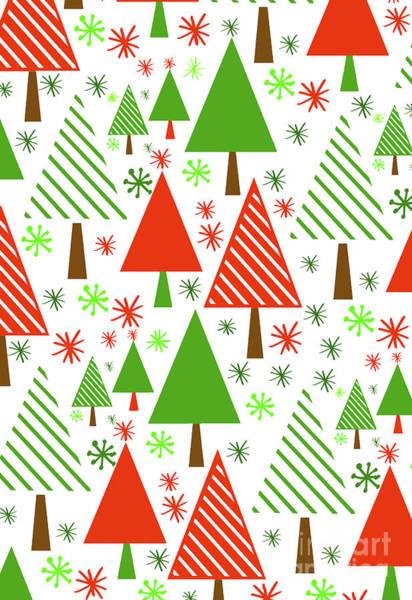 Wall Art - Digital Art - Christmas Trees by Louisa Knight
