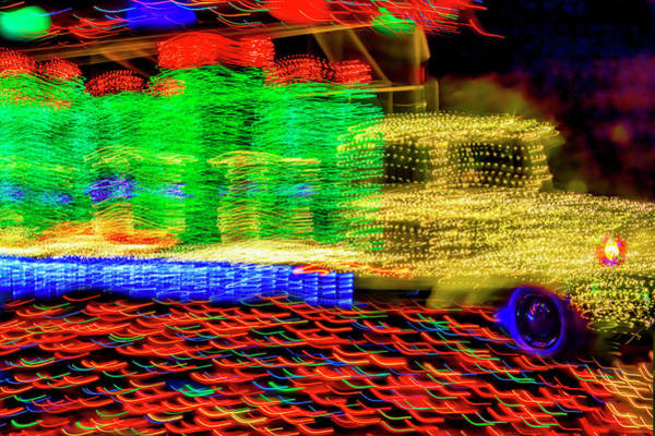 Christmas Lights Photograph - Christmas Truck Abstract by Garry Gay