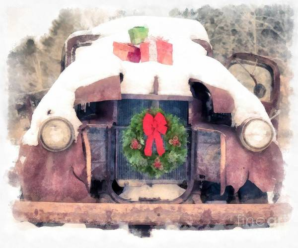 Old Chevy Truck Painting - Christmas Truck by Edward Fielding