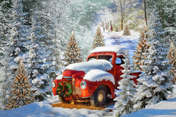 Dog Walker Photograph - Christmas Truck In The Snow Painting by Debra and Dave Vanderlaan