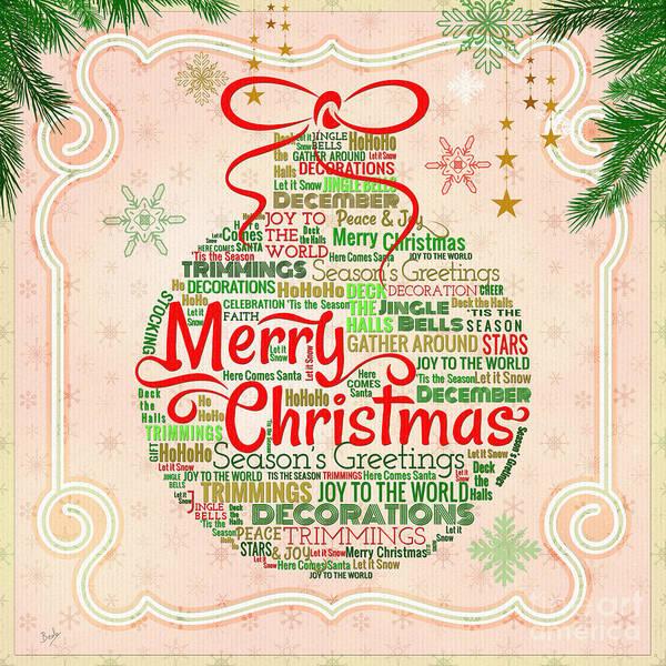 Wall Art - Digital Art - Christmas Words Ornament by Peter Awax