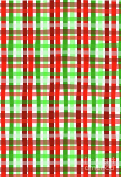 Festive Digital Art - Christmas Wrap Check by Louisa Knight