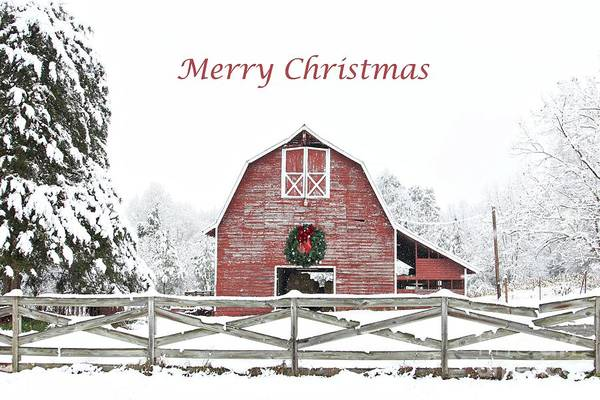 Big Red Photograph - Christmas Wreath Barn by Benanne Stiens
