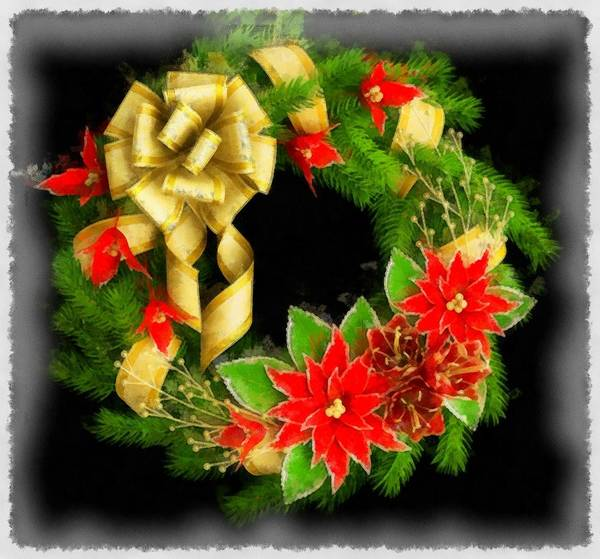 Wall Art - Painting - Christmas Wreath by Esoterica Art Agency