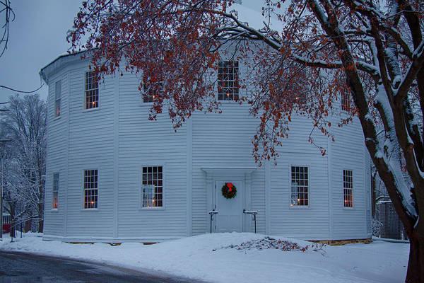 Photograph - Christmas Wreath On Church Door by Jeff Folger