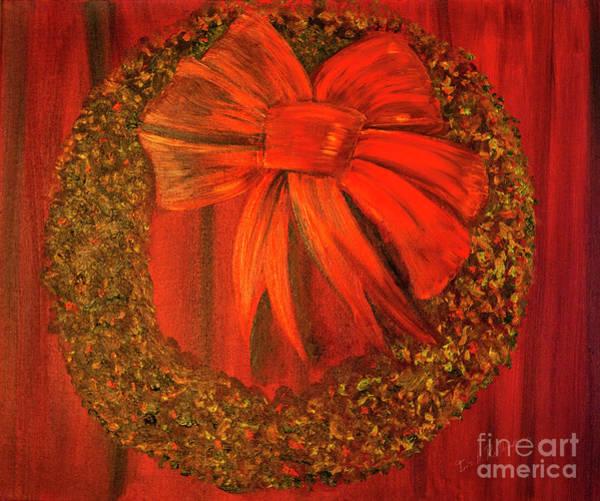 Wall Art - Photograph - Christmas Wreath On Red by Iris Richardson
